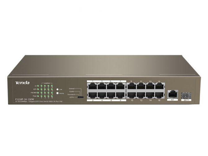 16 Port Ethernet Switch with 16 Port PoE SW-TEF1118P-16-150W