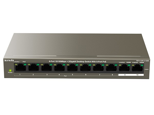 10 Port Ethernet Switch with 8 Port PoE, 8FE+2GE